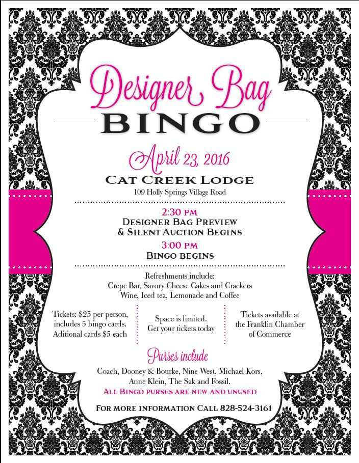 Designer Bag Bingo April 23rd, 2016 | Upcoming Events | Pinterest ...