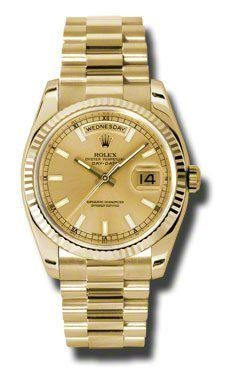 Rolex Day-Date President Yellow Gold - Fluted Bezel (2005) A