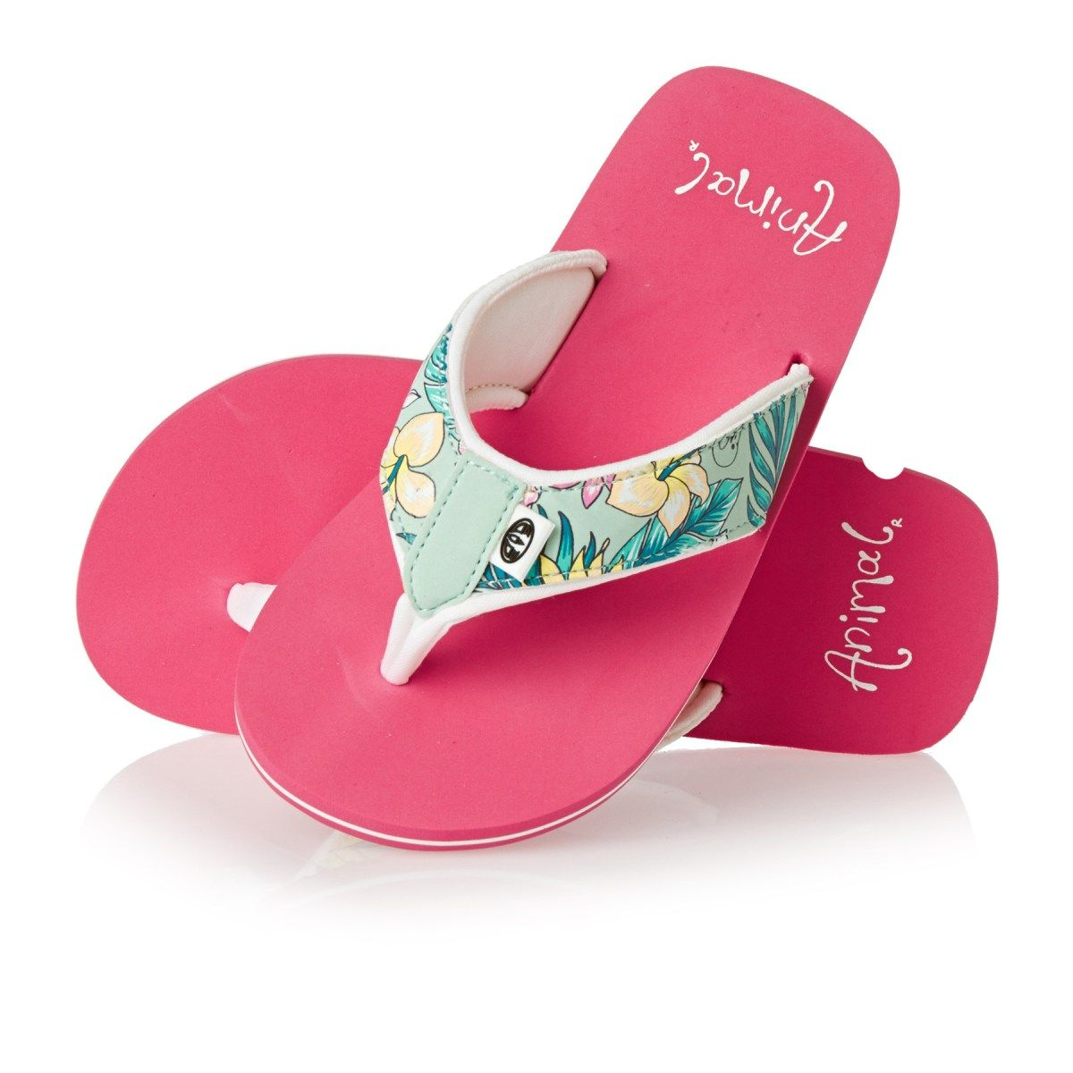 c66f60e709bf Animal Flip Flops - Animal Swish Upper Print Girls Flip Flops - Peppermint  Green