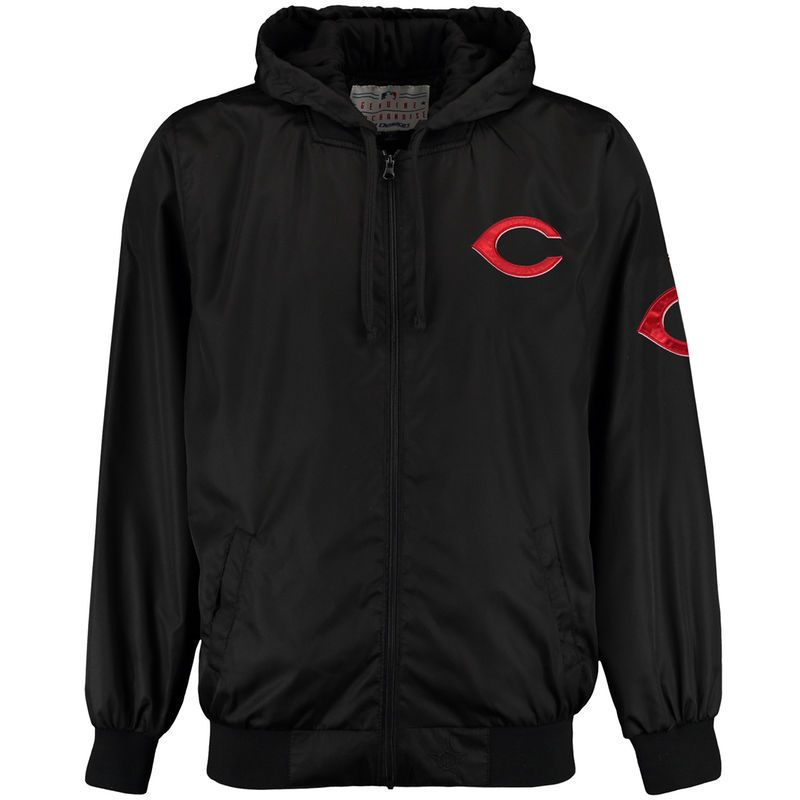 Cincinnati Reds JH Design Ripstop Hooded Jacket Black