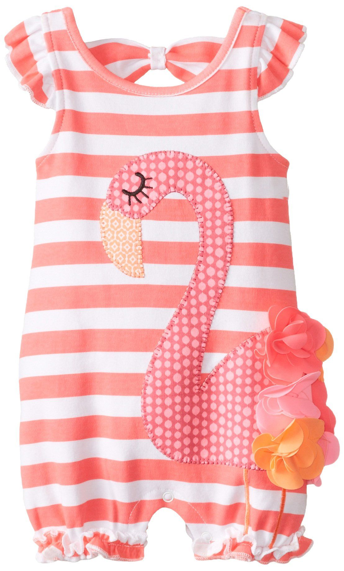 26c74afdc Mud Pie Baby-Girls Newborn Flamingo Bubble Romper, Pink, 0-6 Months ...