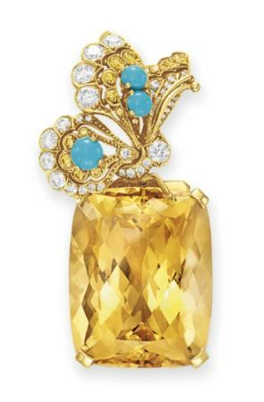 A CITRINE, DIAMOND AND TURQUOISE BROOCH, BY TIFFANY & CO.