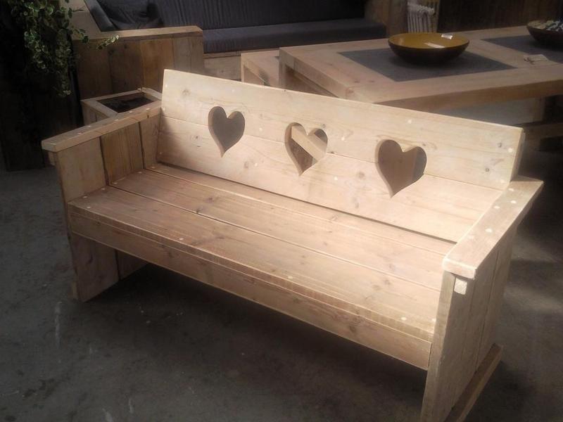 hartjes bank van steigerhout wood bench pinterest. Black Bedroom Furniture Sets. Home Design Ideas