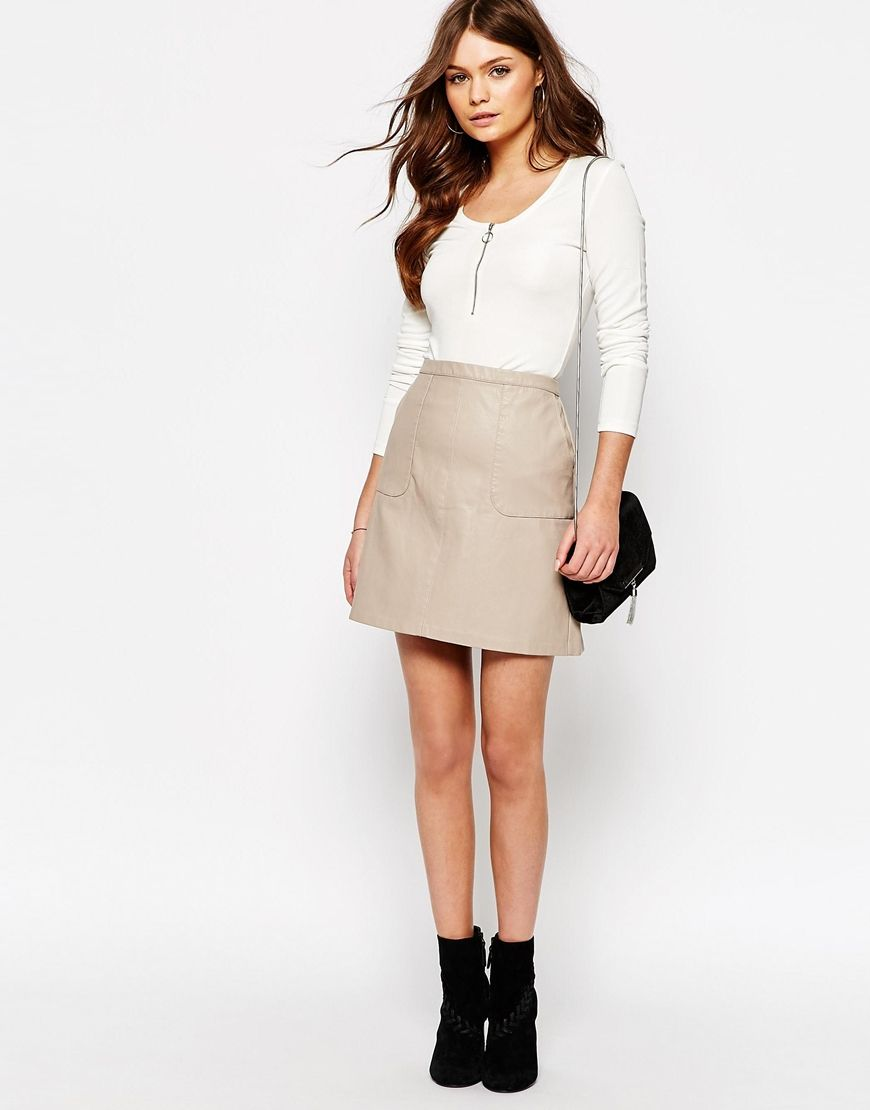 Look Leather Look A-Line Skirt