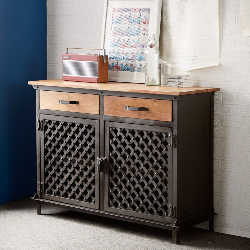Sideboard Industrial Metal And Wood Medium Size Fully Assembled