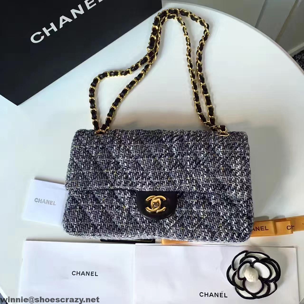 3f3a8a539d2c Chanel Tweed   Lambskin Classic Medium Flap Bag 2017