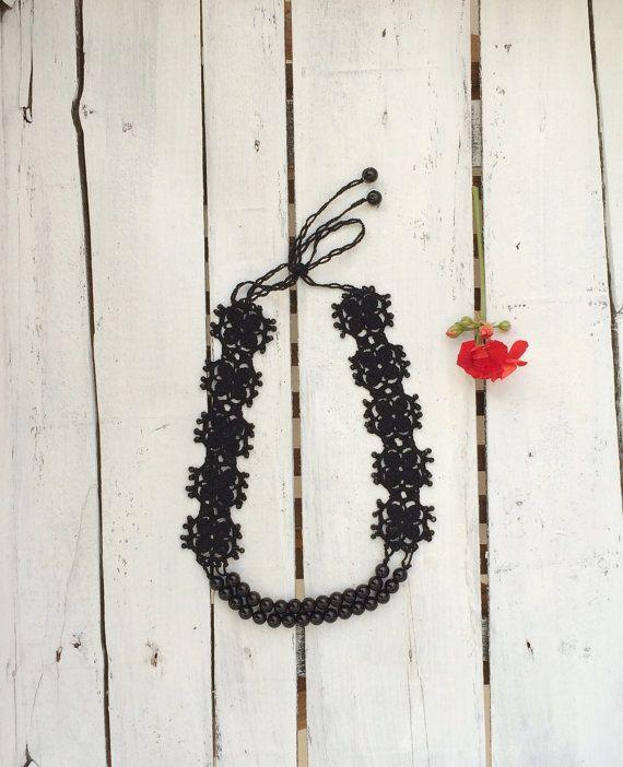 Crochet Black Beads Motifs Choker Necklace Oya Beaded Jewelry Crochet Jewellery, Beadwork, Crochet ReddApple, Fast Delivery