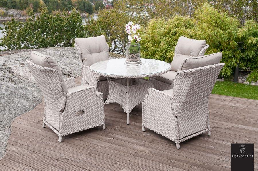 Imperia hagesett Bord (125 cm) + 4 stoler | Utendørsmøbler