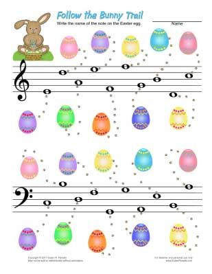 Bass and treble clef note names. Cute for Easter   music worksheets ...