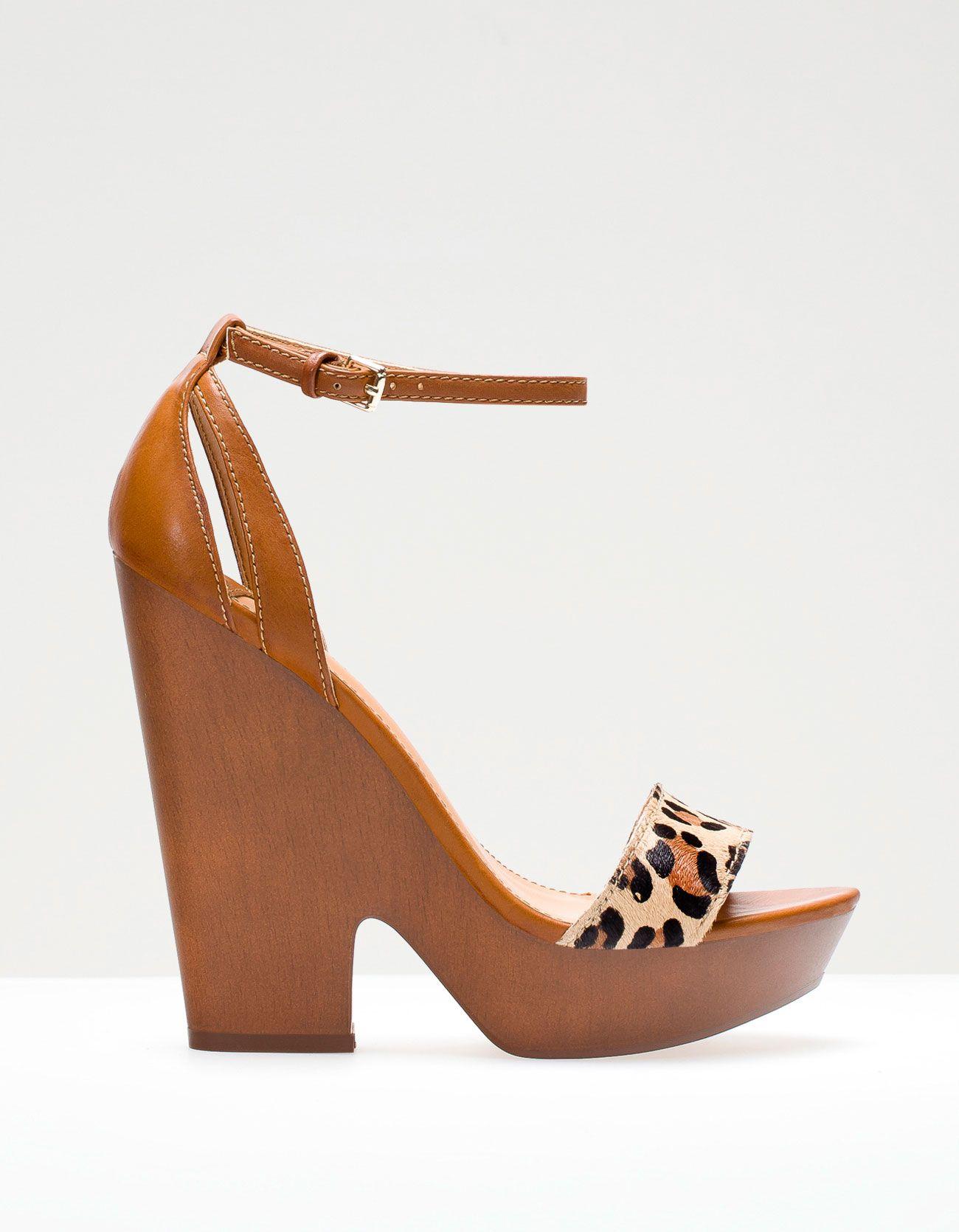 39 95 StradivariusSs13 Leopard Wooden Print Chaussures Wedges rdCoWxeB