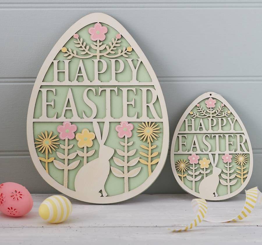 Gisela Graham Pastel Wood Happy Easter Garland