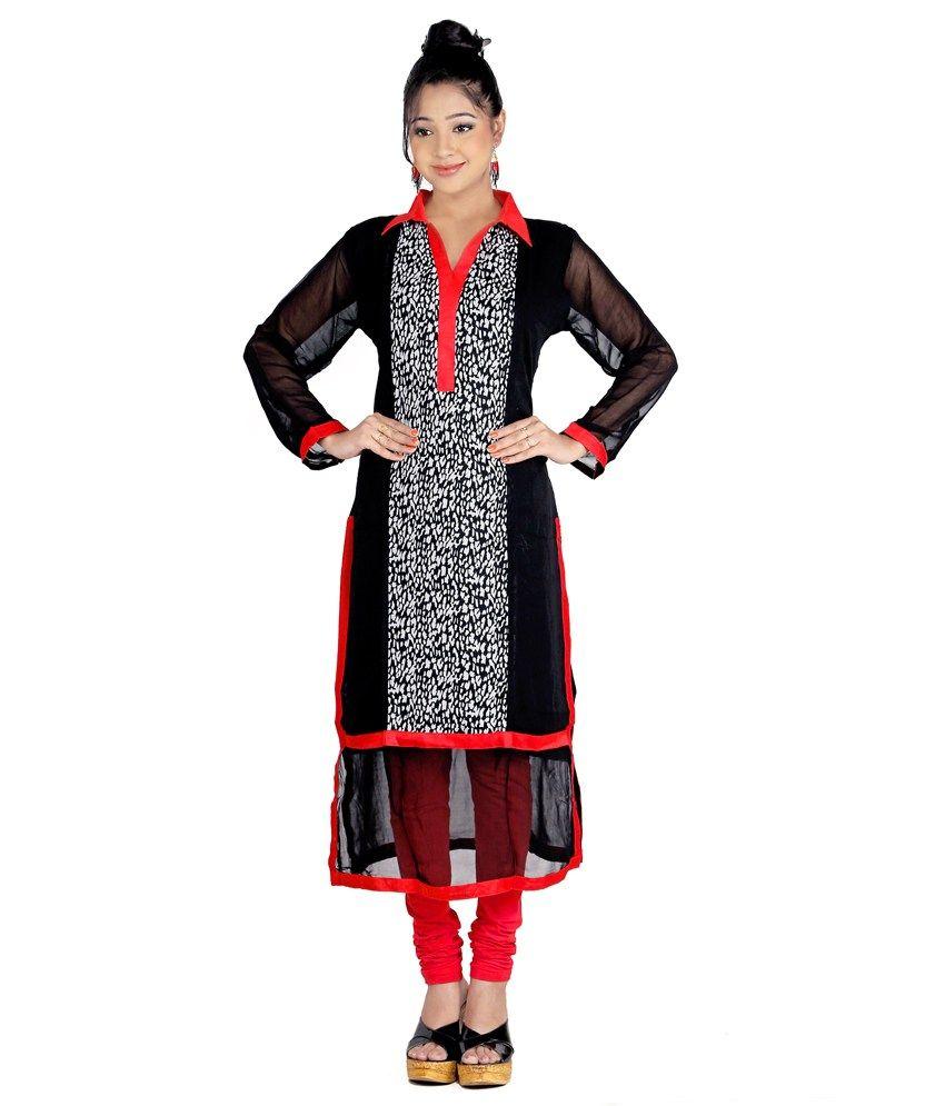 Shirt design kurti - Sruti Black Printed Faux Georgette Shirt Collar Long Kurti