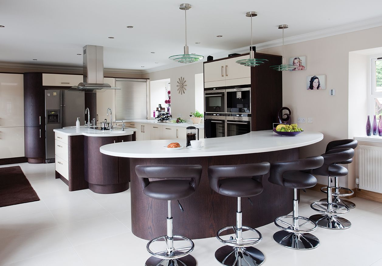 Ultra Gloss Kitchen Curved Kitchen Modern Kitchen Curved Kitchen Island