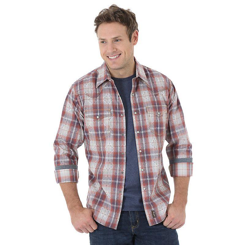Wrangler Men's Long Sleeve Spread Collar Plaid Shirt:BlueRustWhite (Size: Large) Blue