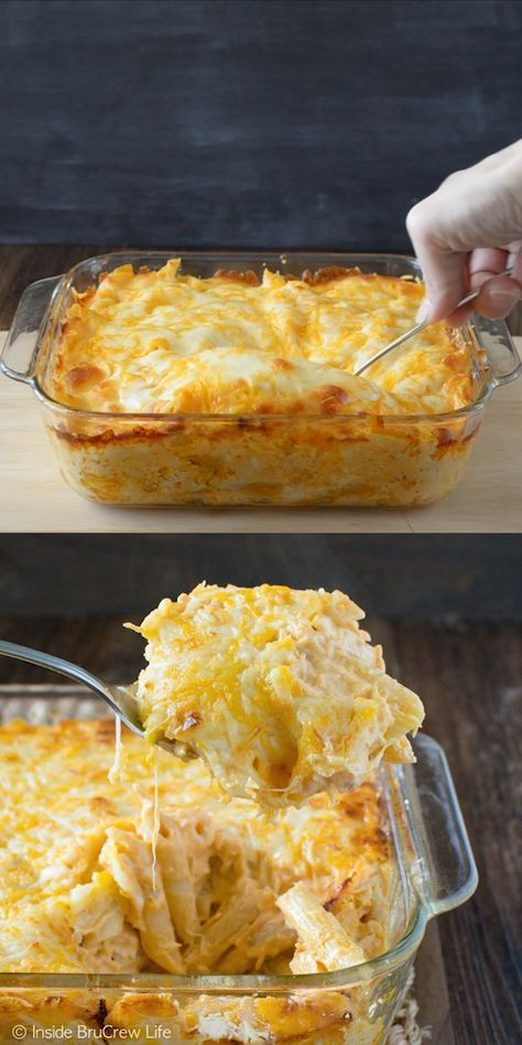 Easy Buffalo Chicken Pasta Bake