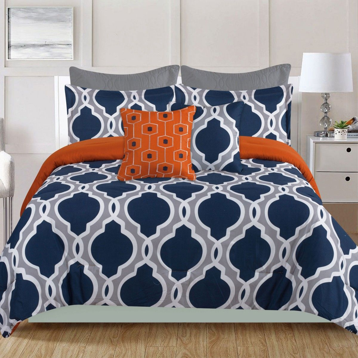 crest home ellen westbury  piece king comforter bedding set navy  - crest home ellen westbury  piece king comforter bedding set navy blue andgrey quatrefoil