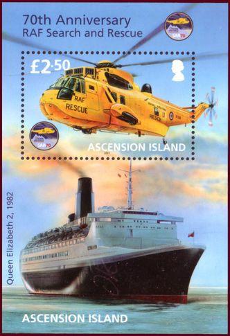Sello: Sea King and Q Elisabeth 2 (Ascensión Isla) (70th Anniversary of RAF Search and Rescue) Mi:AC BL67