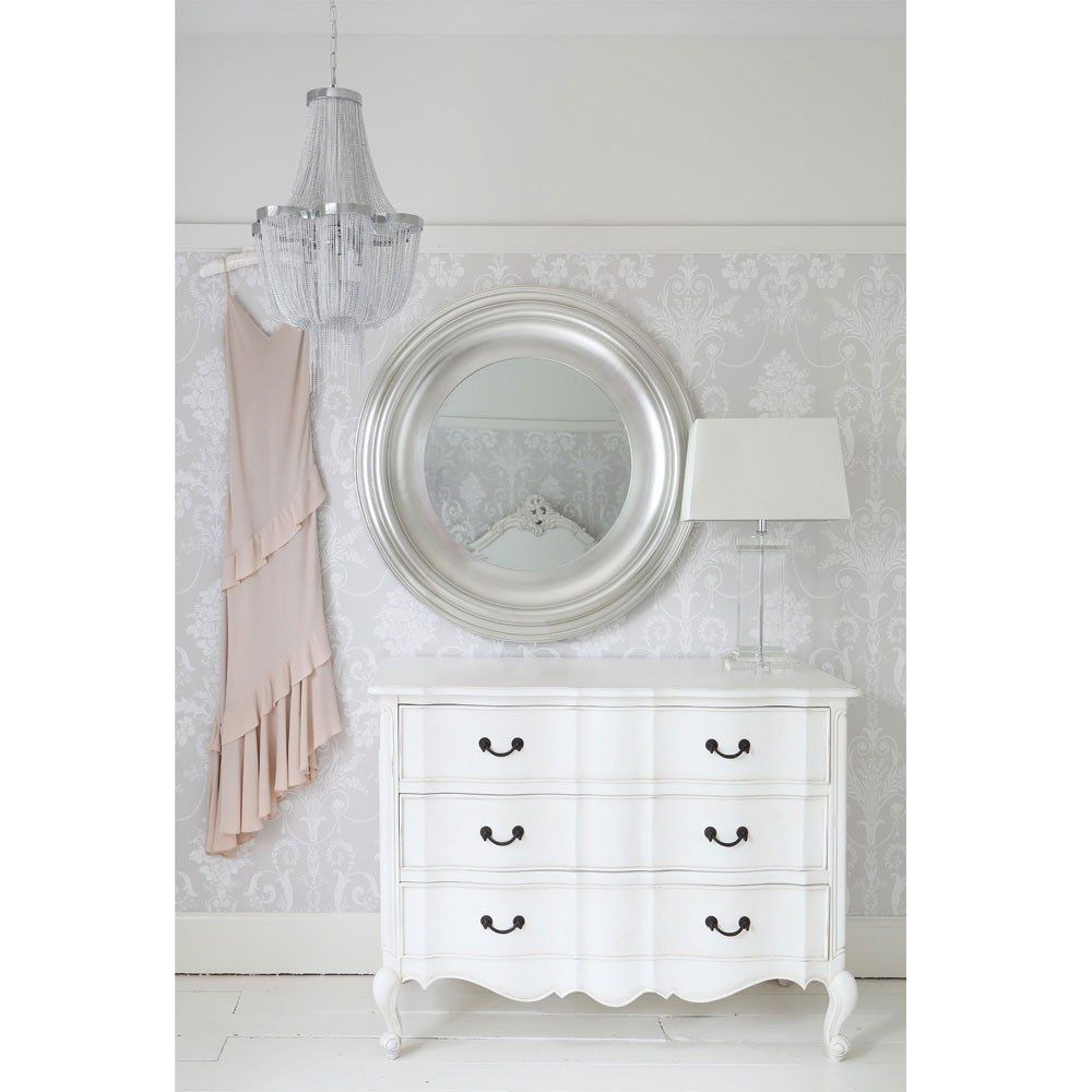 Silver Mirrors For Bedroom Sylvia Silver Large Mirror French Bedroom Furniture Round