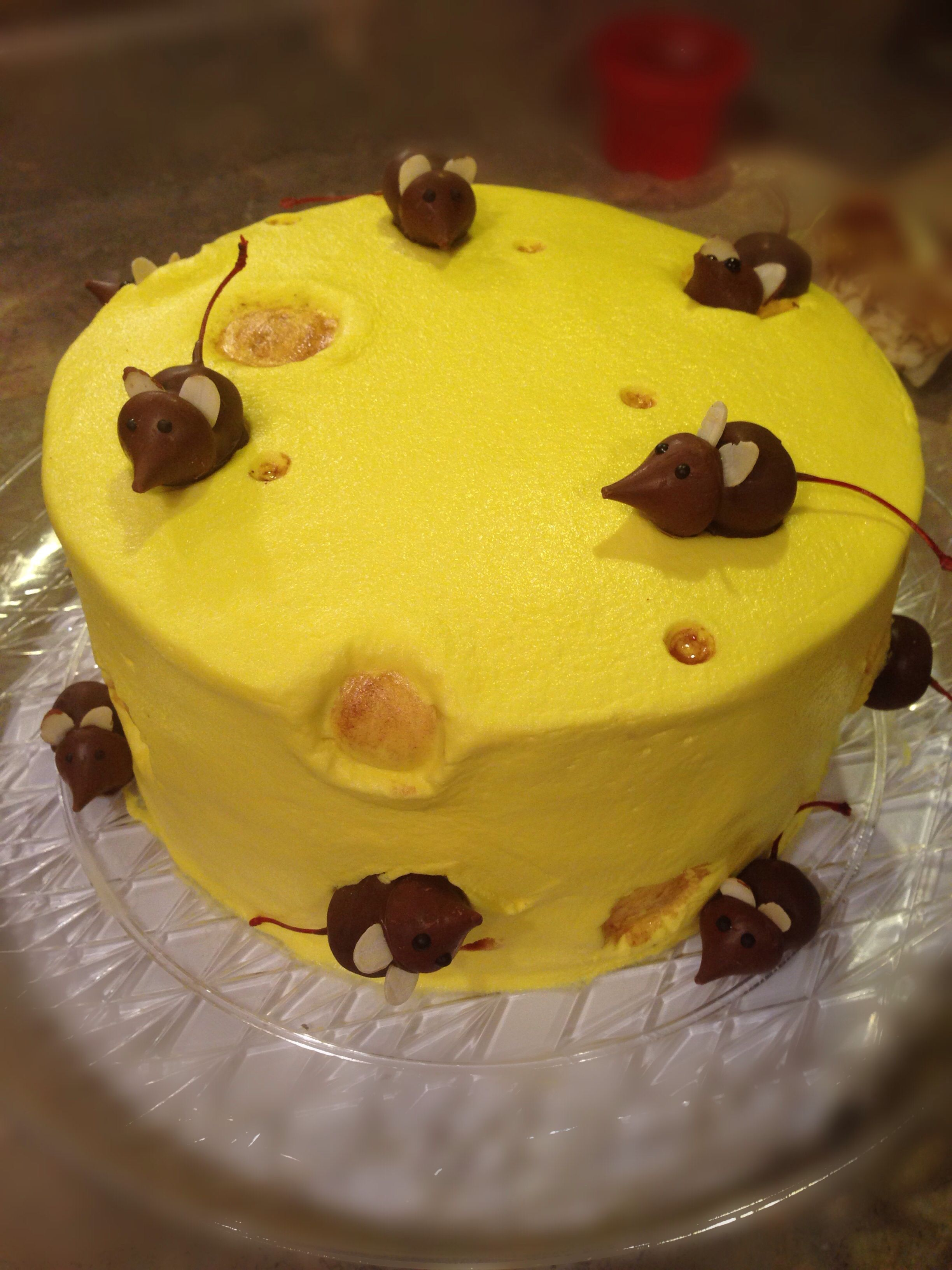 My Big Cheese Cake For Bosses Day With Cherry Hershey Kiss Mice