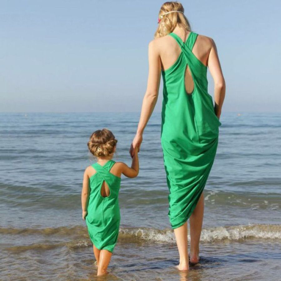 Buy Mom Girl Solid Color Summer Matching Dress online with cheap ...