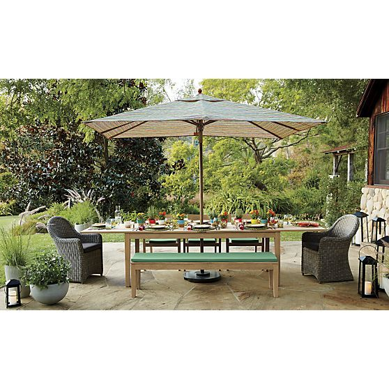 Regatta Dining Bench With Sunbrella Bottle Green Cushion In