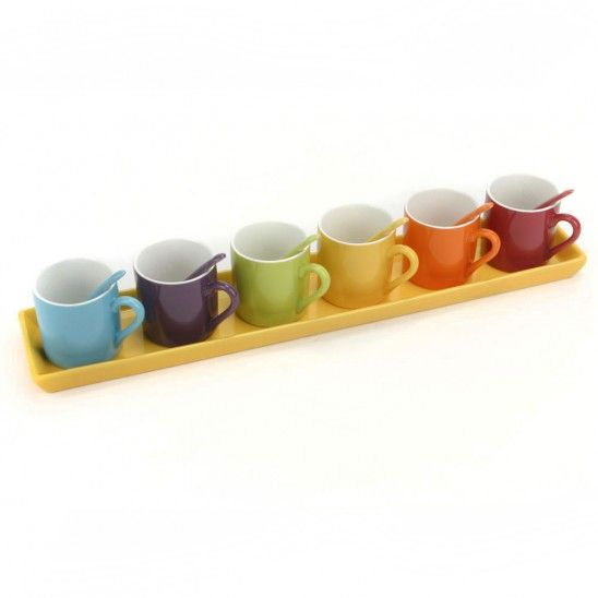Espresso Cups Set of 6 with Tray and Spoons