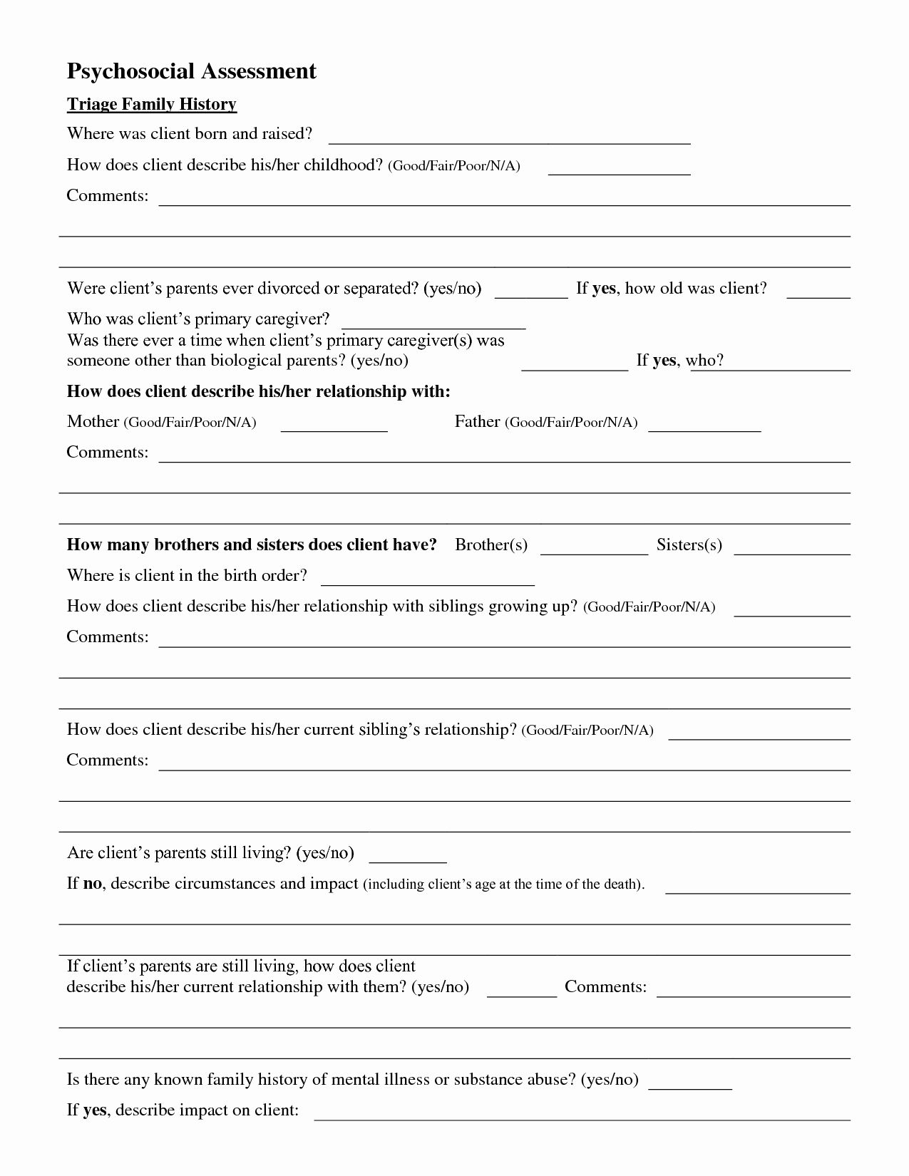 Social Work Assessment Form New Psychosocial Assessment