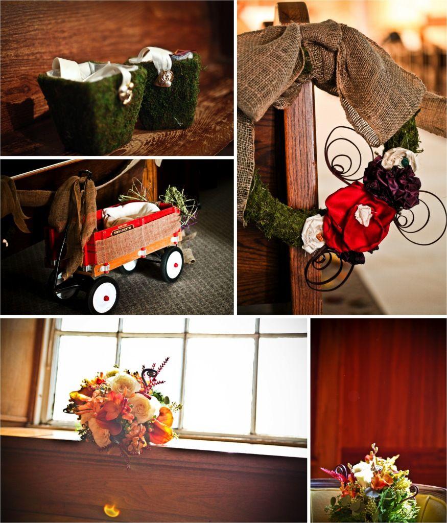 Cute burlap and moss decoration ideas.