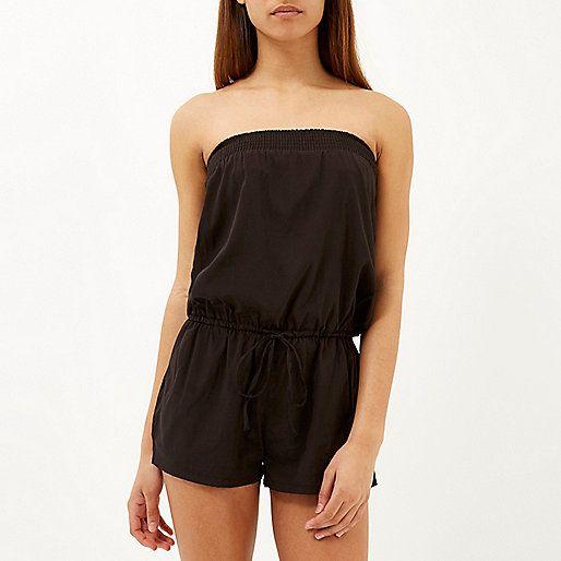 52a35a63cd848 Black bandeau waisted playsuit - kaftans / cover-ups - swimwear / beachwear  - women