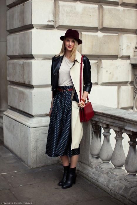 midi skirt, blue, navy, red, black, coat, jacket, bag, ankle boots, street style