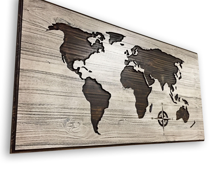Carved World Map Art Wood Wall Art Wooden Map Solid Wood Etsy World Map Art Wood Wall Art World Map Decor
