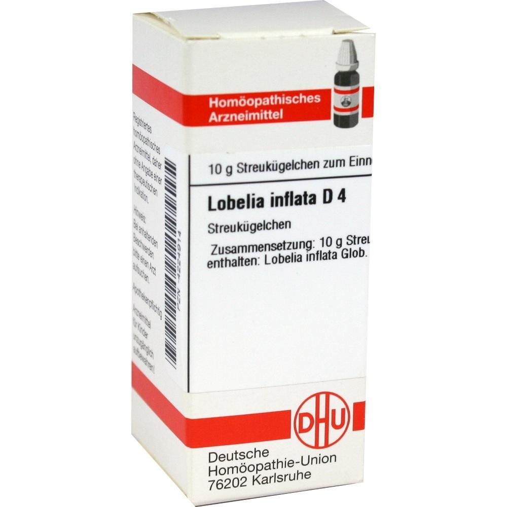 LOBELIA INFLATA D 4 Globuli:   Packungsinhalt: 10 g Globuli PZN: 04224914 Hersteller: DHU-Arzneimittel GmbH & Co. KG Preis: 5,19 EUR…