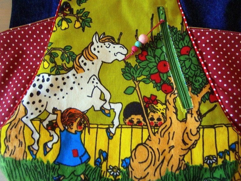 Handmade Bag From Vintage Pippi Longstocking Fabric Noodlehead