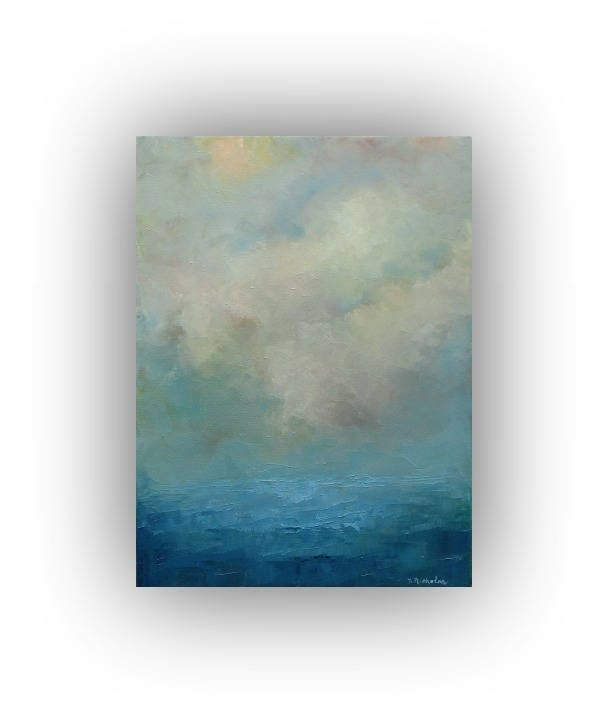 Seascape Oil Painting- Small 12 x 16 Blue Ocean Sky and Clouds Art ...