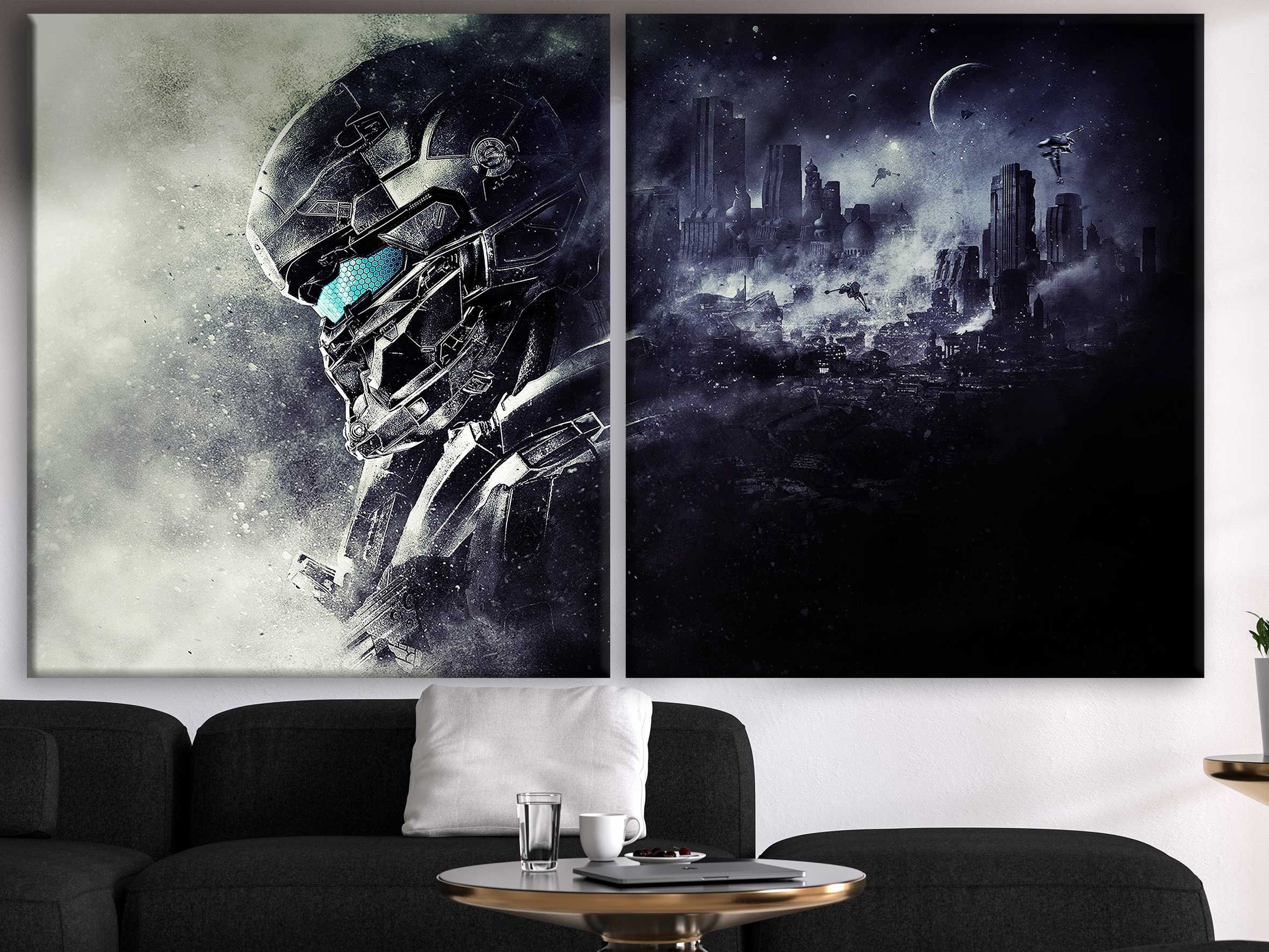 Halo Video Game Art Halo Wars 2 Master Chief Gun Artwork Gamer Room Decor Gemer Gift Idea #gamerroom