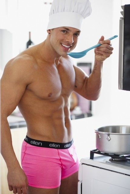 Hunky buffed chef wearing bright pink boxer briefs and for Cuisinier bras