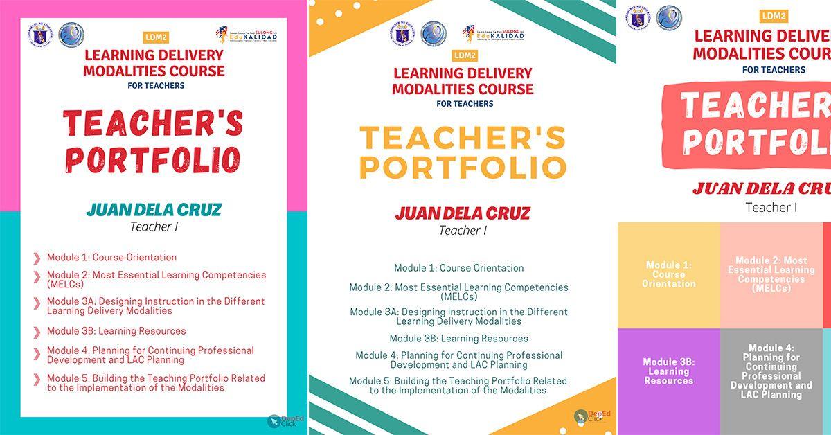 Ldm2 Teacher S Portfolio Covers Free Download Deped Click Teacher Portfolio Portfolio Covers Portfolio