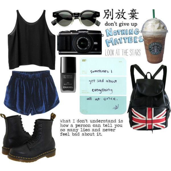 Untitled #273 by sarapmary on Polyvore featuring Monki, Dr. Martens, Love Quotes Scarves and Joes