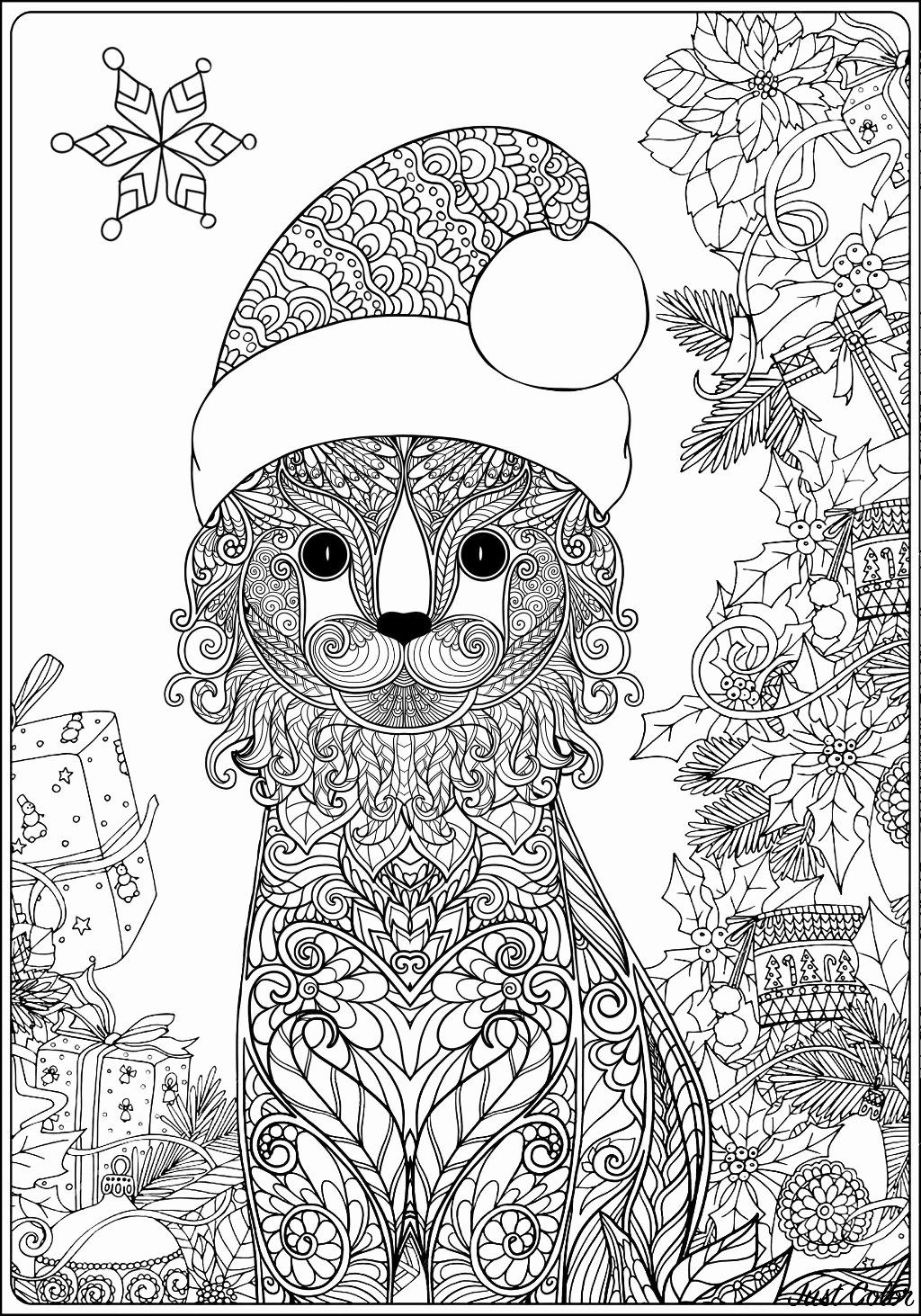 Cat Christmas Coloring Page Inspirational Christmas Cat With Ts Long Version Without Text In 2020 Cartoon Coloring Pages Christmas Colors Coloring Pages