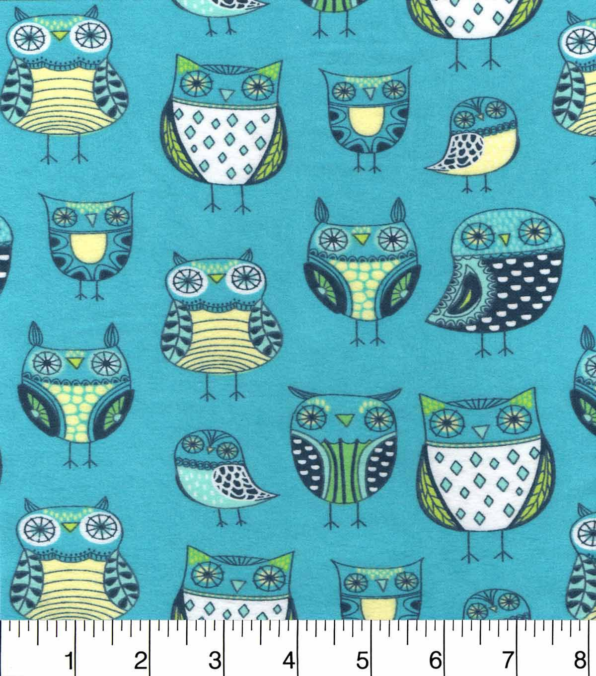 Snuggle flannel fabricnature owl green owl flannels and fabrics