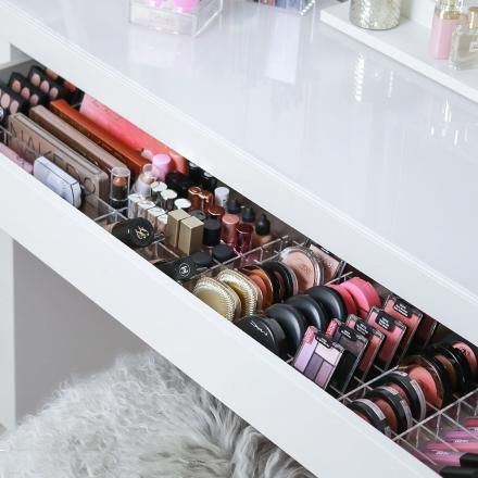 TidyUps | TIDY MALM - Set of 2 | Acrylic makeup organizers for IKEA ALEX, MALM and vanity tables