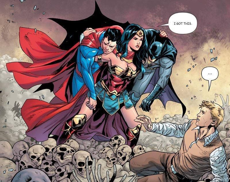 story identification - Which comic book has this image of Wonder Woman  carrying Superman and Batman? - Science Fiction & F… | Marvel dc comics,  Marvel, Wonder woman