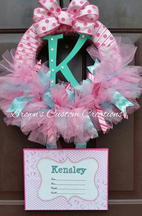 Pink Tulle Baby Shower Wreath -Birth Announcement - Wreath with