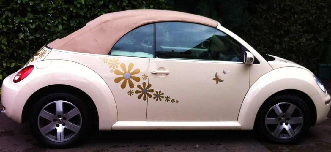 Crazy daisy vw beetle car decals by hippy motors http