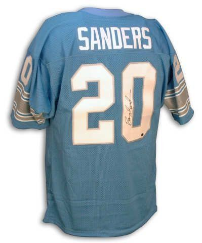 47b04df42 ... Autographed Barry Sanders Lions Blue Throwback Jersey 411.95 Barry  Sanders 20 Detroit Lions Throwback Jersey Mitchell ...
