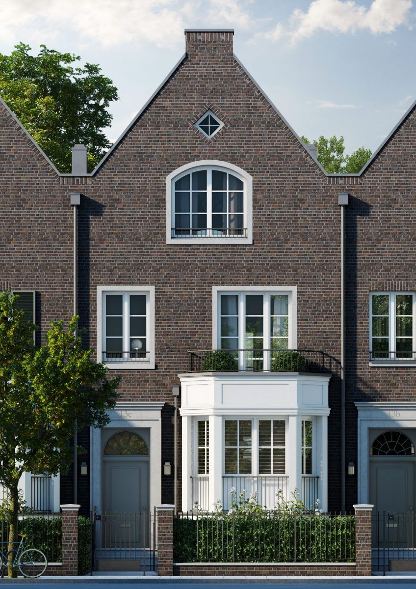 rubensstra e f nf townhouses aus backstein und wei en sprossenfenstern im belgischen stil. Black Bedroom Furniture Sets. Home Design Ideas