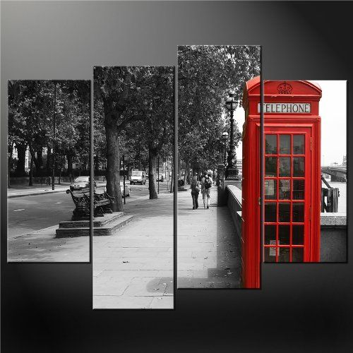 London Wall Art 4 panel black white and red phone booth london wall art cascade