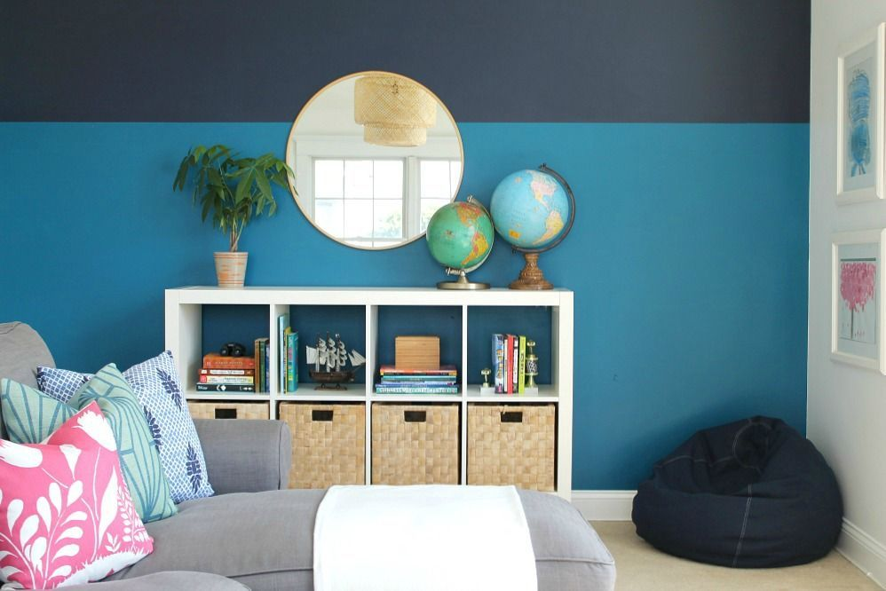 Playroom Makeover Using Sherwin-Williams 2018 Color of the Year - City Farmhouse #cityloftsherwinwilliams Sherwin-Williams Color of the Year, Playroom Makeover + Modern Color Blocked Wall With Sherwin-Williams #cityloftsherwinwilliams