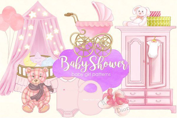 Baby Shower Baby Girl Patterns  - Illustrations