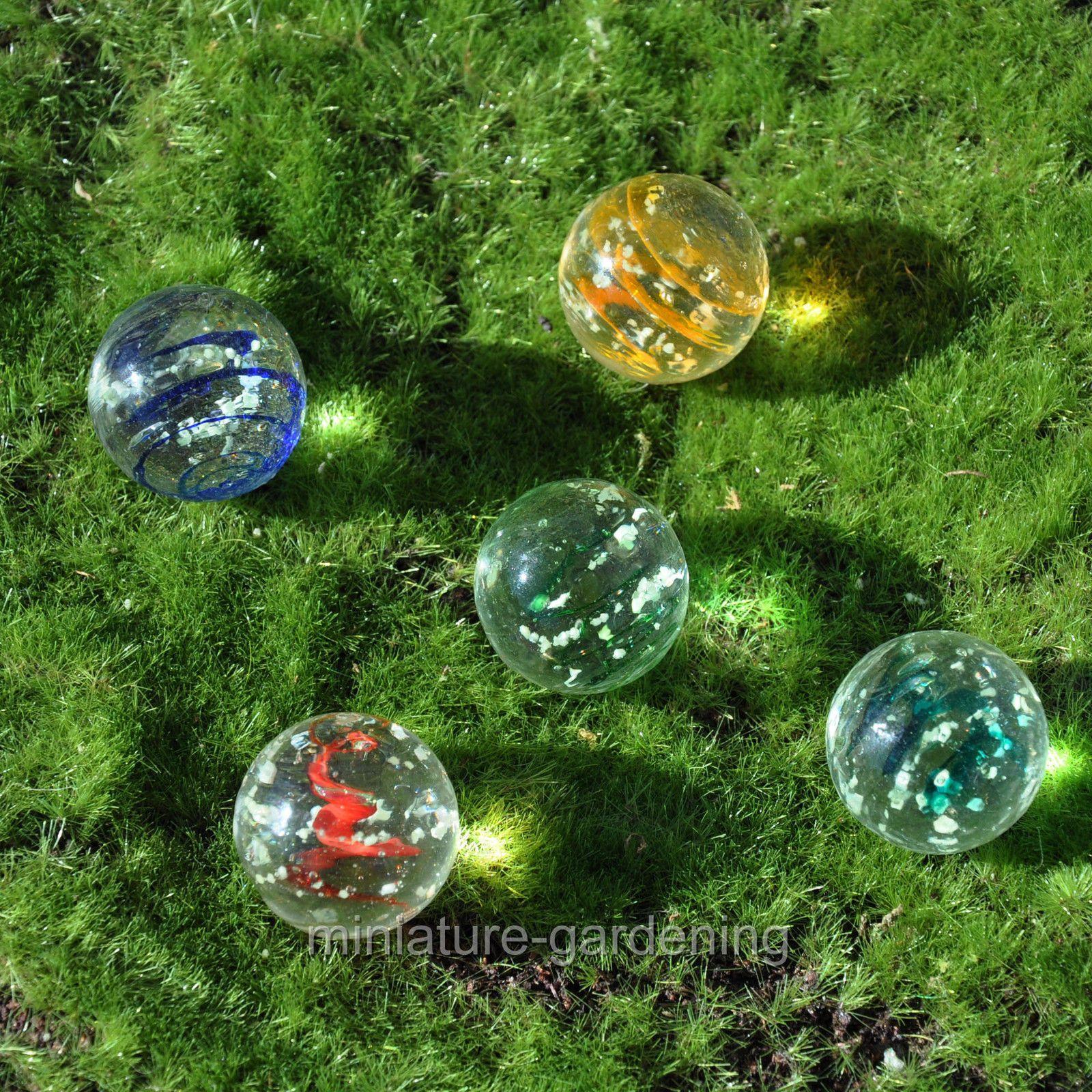 Miniature Dollhouse FAIRY GARDEN ~ Gazing Ball Pick w Clear Glass /& Vine Detail
